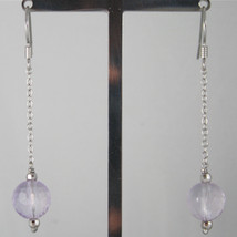 925 SILVER RHODIUM PENDANT EARRINGS, FACETED AMETHYST