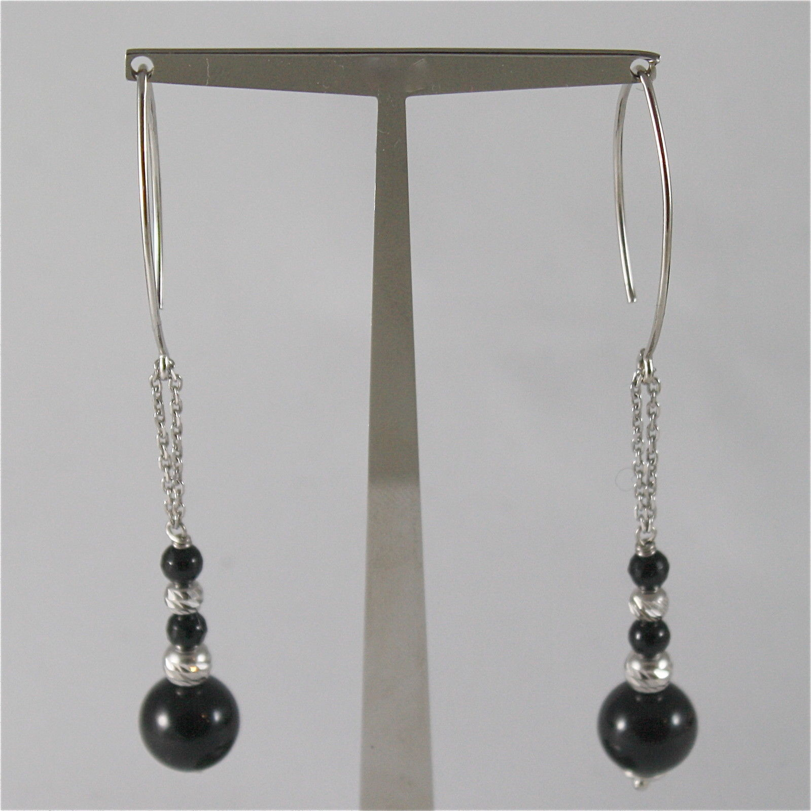 925 SILVER EARRINGS WITH 8 MM ROUND ONYX AND FACETED BALLS ITALIAN JEWELLERY