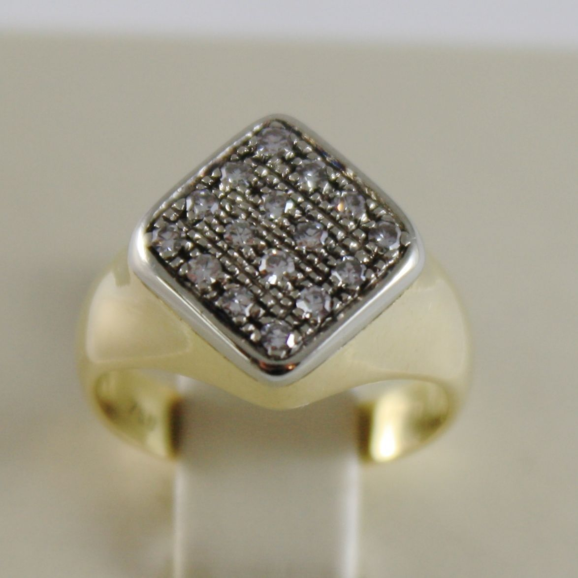 SOLID 18K YELLOW GOLD LITTLE FINGER RHOMBUS BAND RING WITH DIAMOND MADE IN ITALY