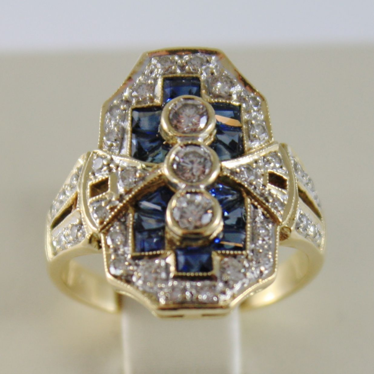 18K YELLOW GOLD BAND RING DIAMOND SAPPHIRE VINTAGE VICTORIAN STYLE MADE IN ITALY
