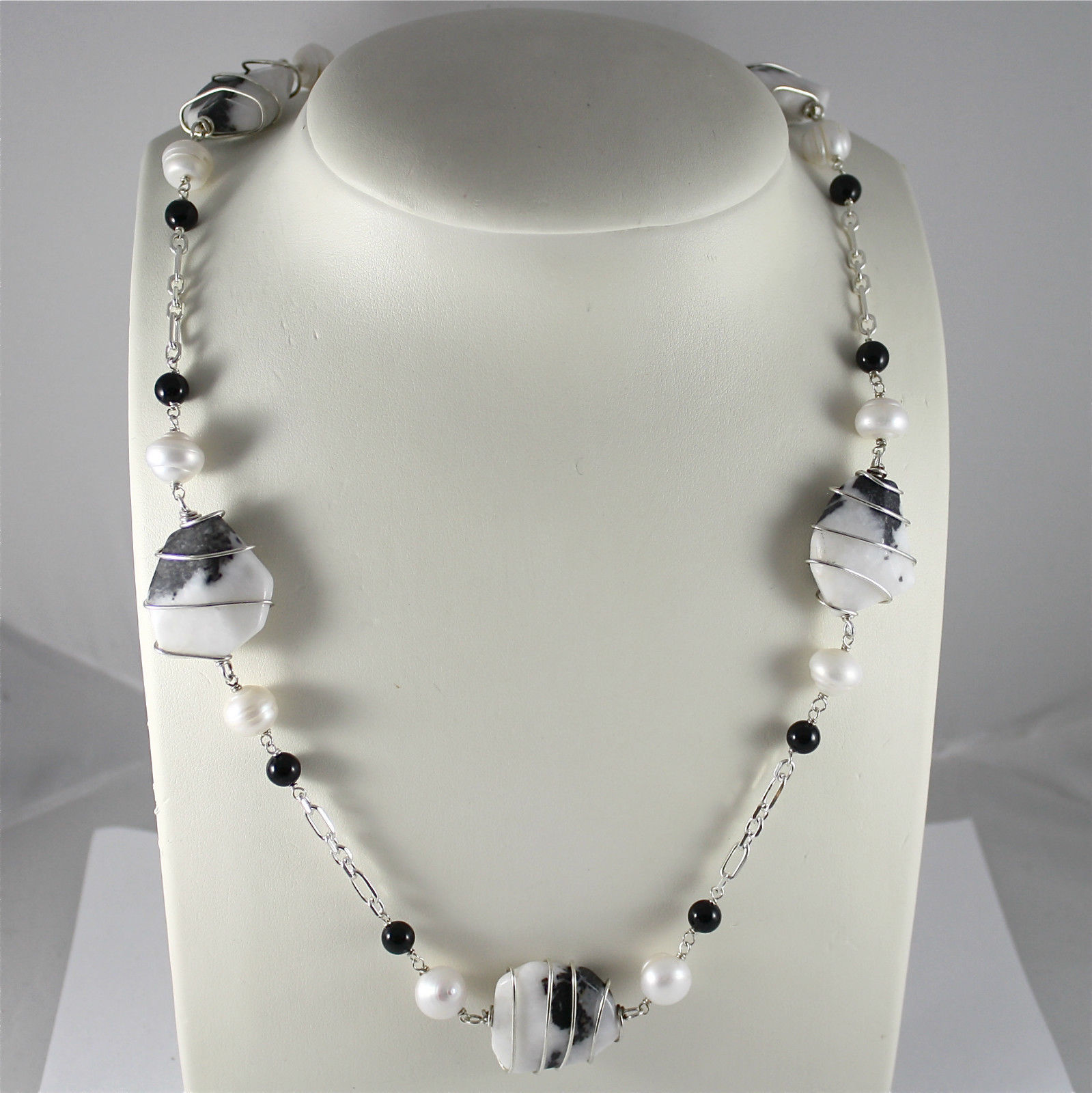 925 Silver Necklace, Onyx Black, White Pearls, Quartz spotted