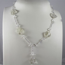 925 Silver Necklace Rhodium, transparent crystals, Raw and Yellow - $86.90
