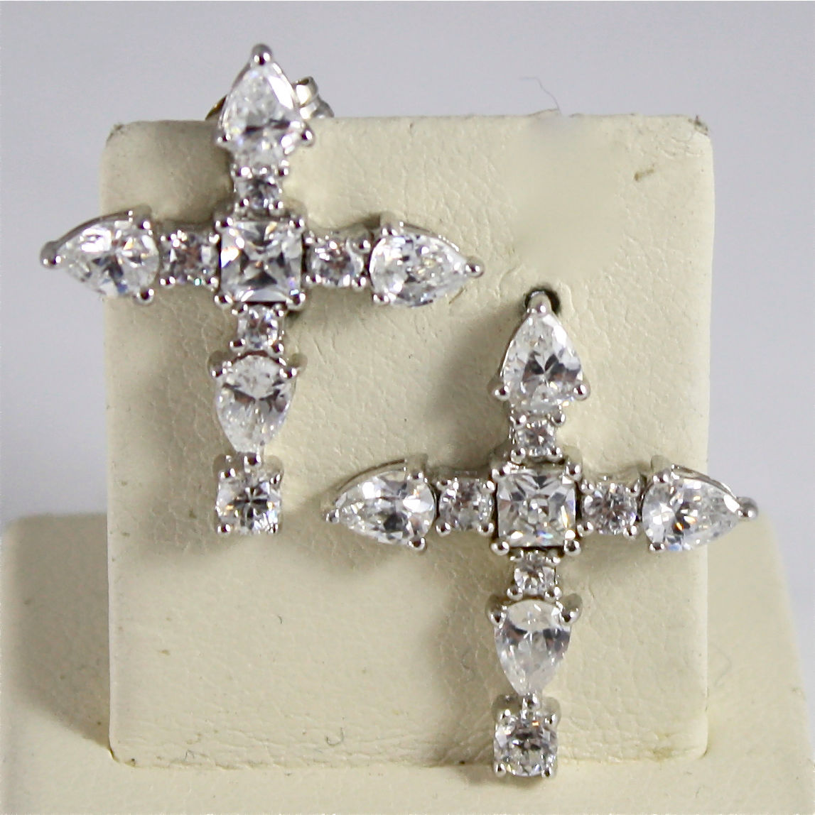 .925 RHODIUM SILVER EARRINGS, STYLIZED CROSS IN FACETED ZIRCONIA