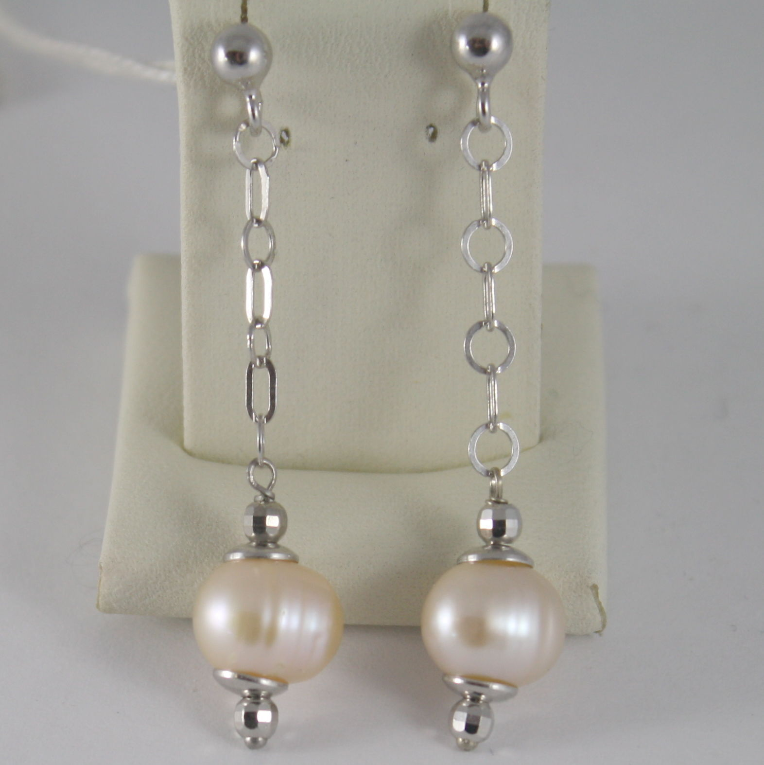 925 STERLING SILVER RHODIUM PENDANT EARRINGS WITH ROSE PEARLS PEARL