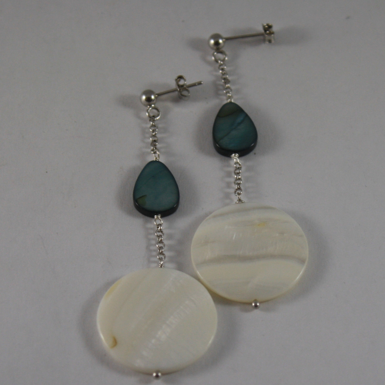 .925 RHODIUM SILVER EARRINGS WITH BLUE AND WHITE MOTHER OF PEARL