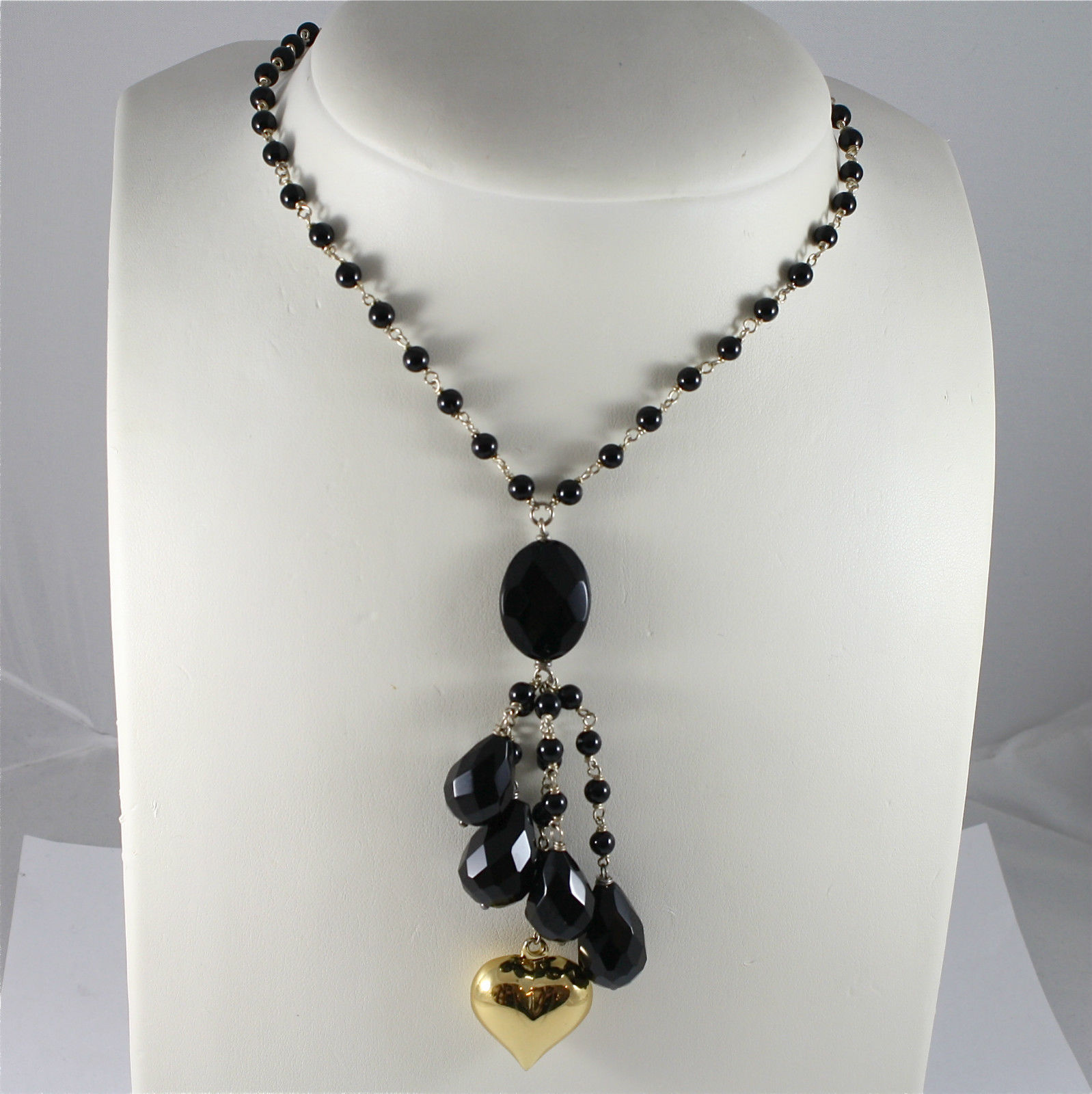 925 Silver Necklace Rhodium, Onyx Black, Waterfall with Gold Laminated heart