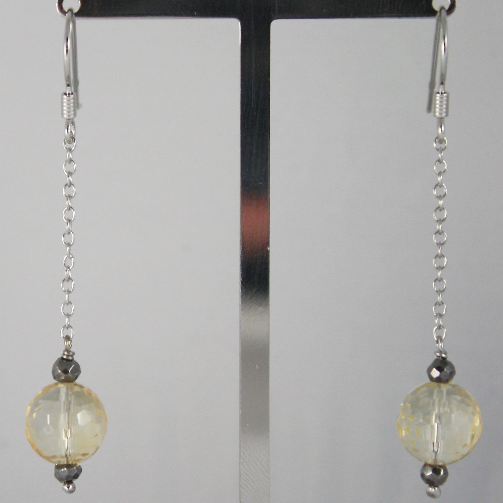 925 SOLID STERLING SILVER RHODIUM PENDANT EARRINGS WITH CITRINE & PYRITE