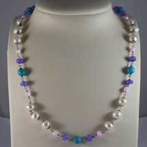 .925 SILVER RHODIUM NECKLACE WITH WHITE PEARLS, TURQUOISE, AMETHYST AND ... - $100.70