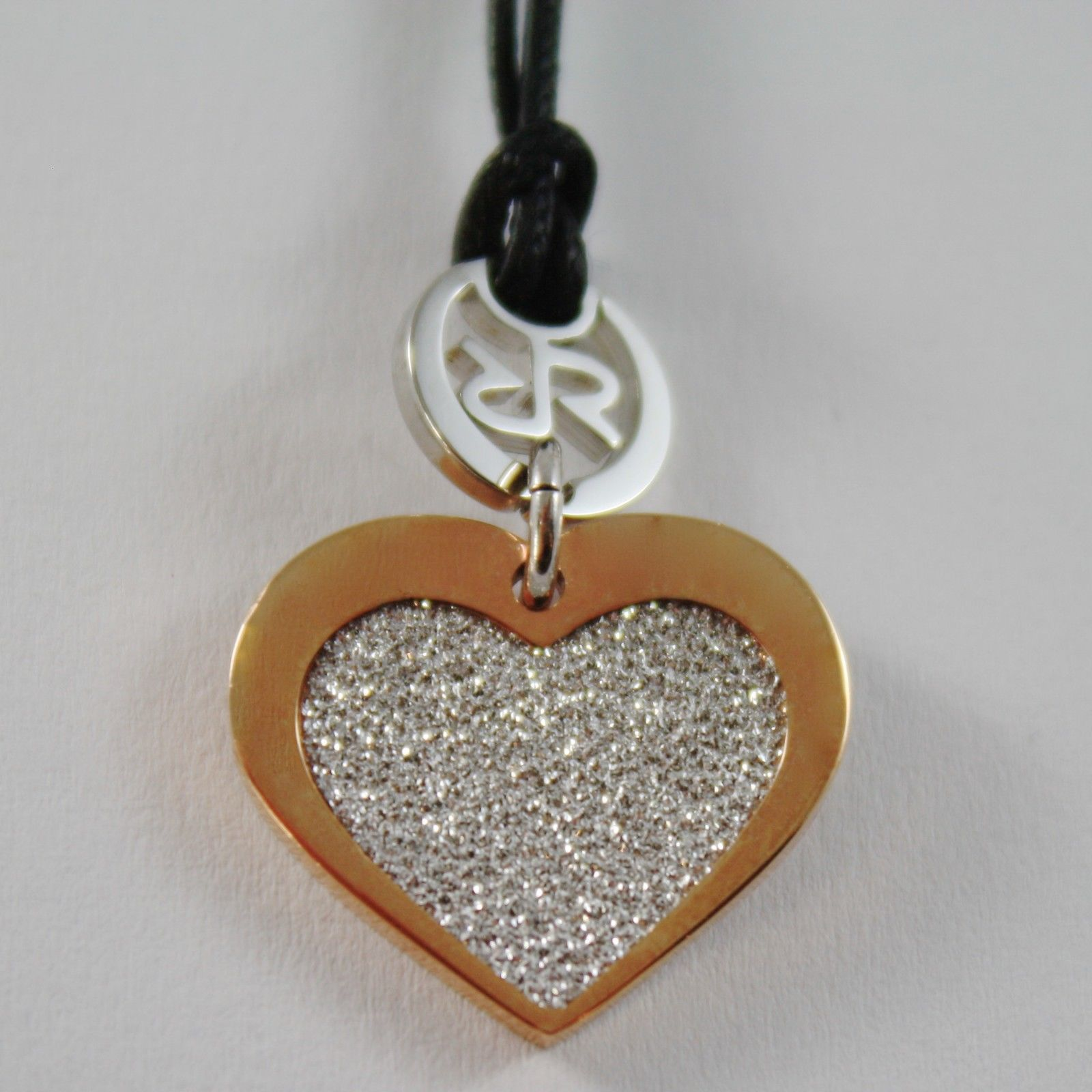 PLATED WHITE AND ROSE GOLD BRONZE REBECCA NECKLACE HEART PENDANT, MADE IN ITALY