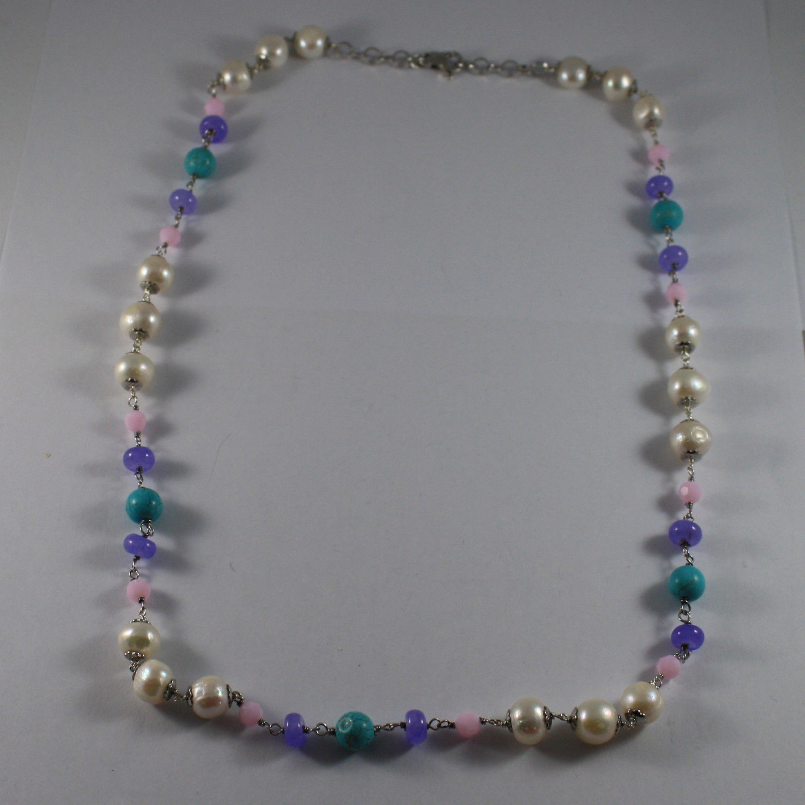 .925 SILVER RHODIUM NECKLACE WITH WHITE PEARLS, TURQUOISE, AMETHYST AND CRISTALS