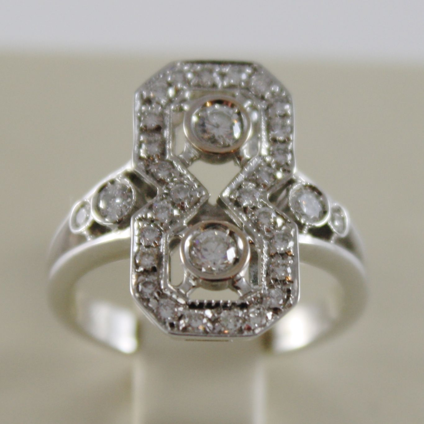 SOLID 18K WHITE GOLD BAND RING, DIAMONDS, VINTAGE VICTORIAN STYLE, MADE IN ITALY