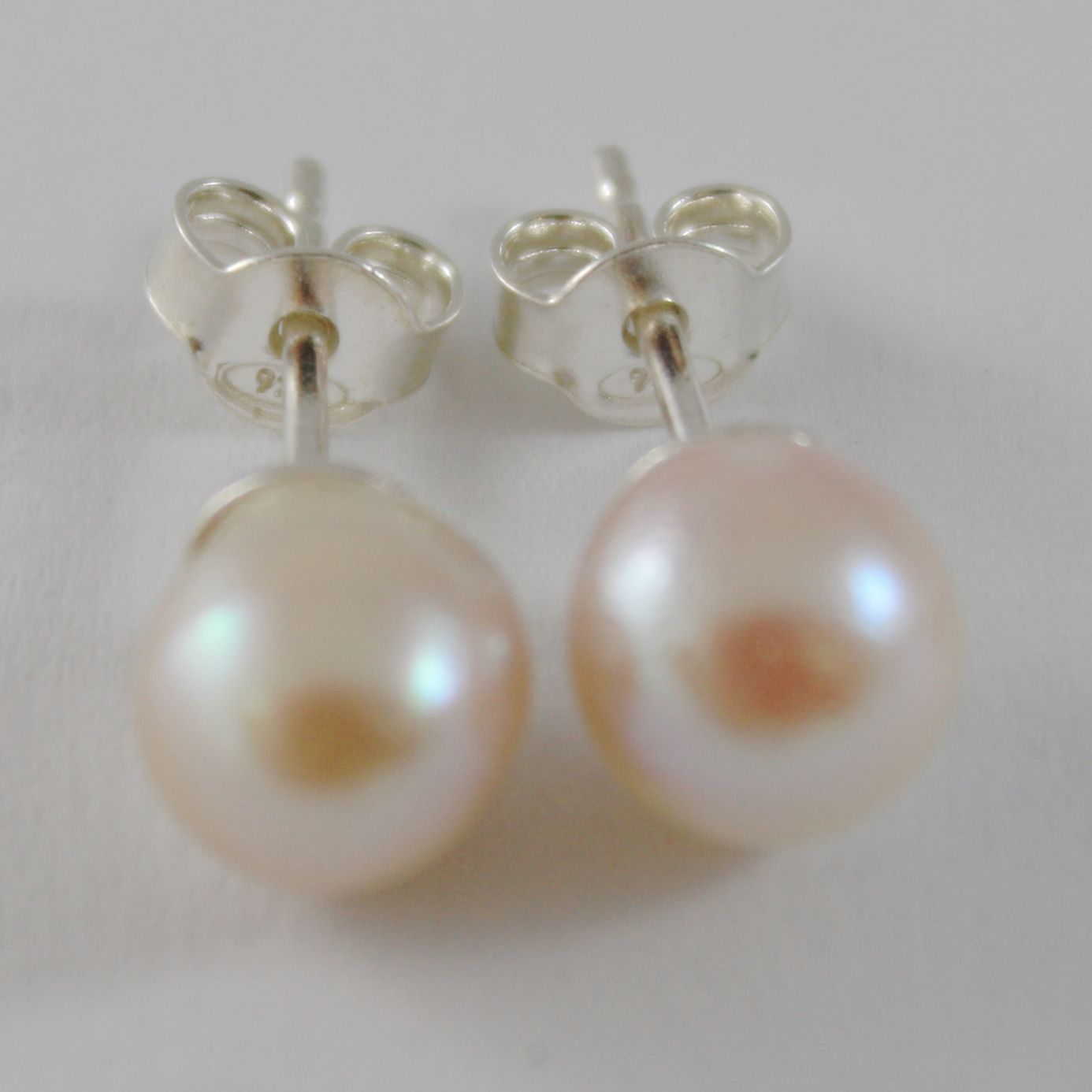SOLID 925 STERLING SILVER EARRINGS WITH AKOYA PEARLS 7/7.5 MM WITH BUTTERFLY