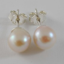 SOLID 925 STERLING SILVER EARRINGS WITH AKOYA PEARLS 7/7.5 MM WITH BUTTERFLY image 1