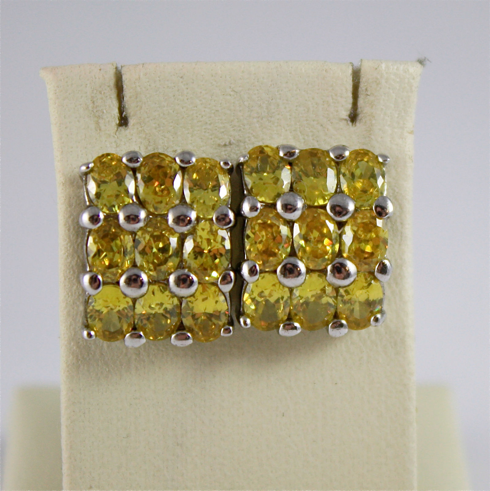 .925 RHODIUM SILVER EARRINGS, YELLOW FACETED CRISTAL PAVE', VINTAGE STYLE.