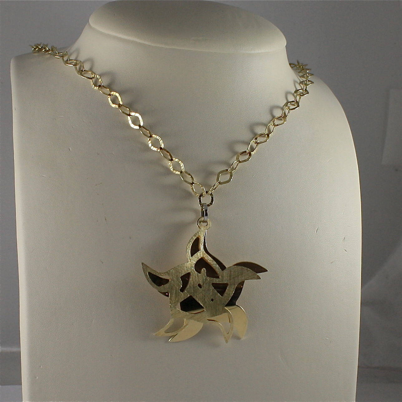 .925 SILVER, GOLD PLT NECKLACE, 17,32 In, CHAIN MESH, DOUBLE STYLIZED STARS.