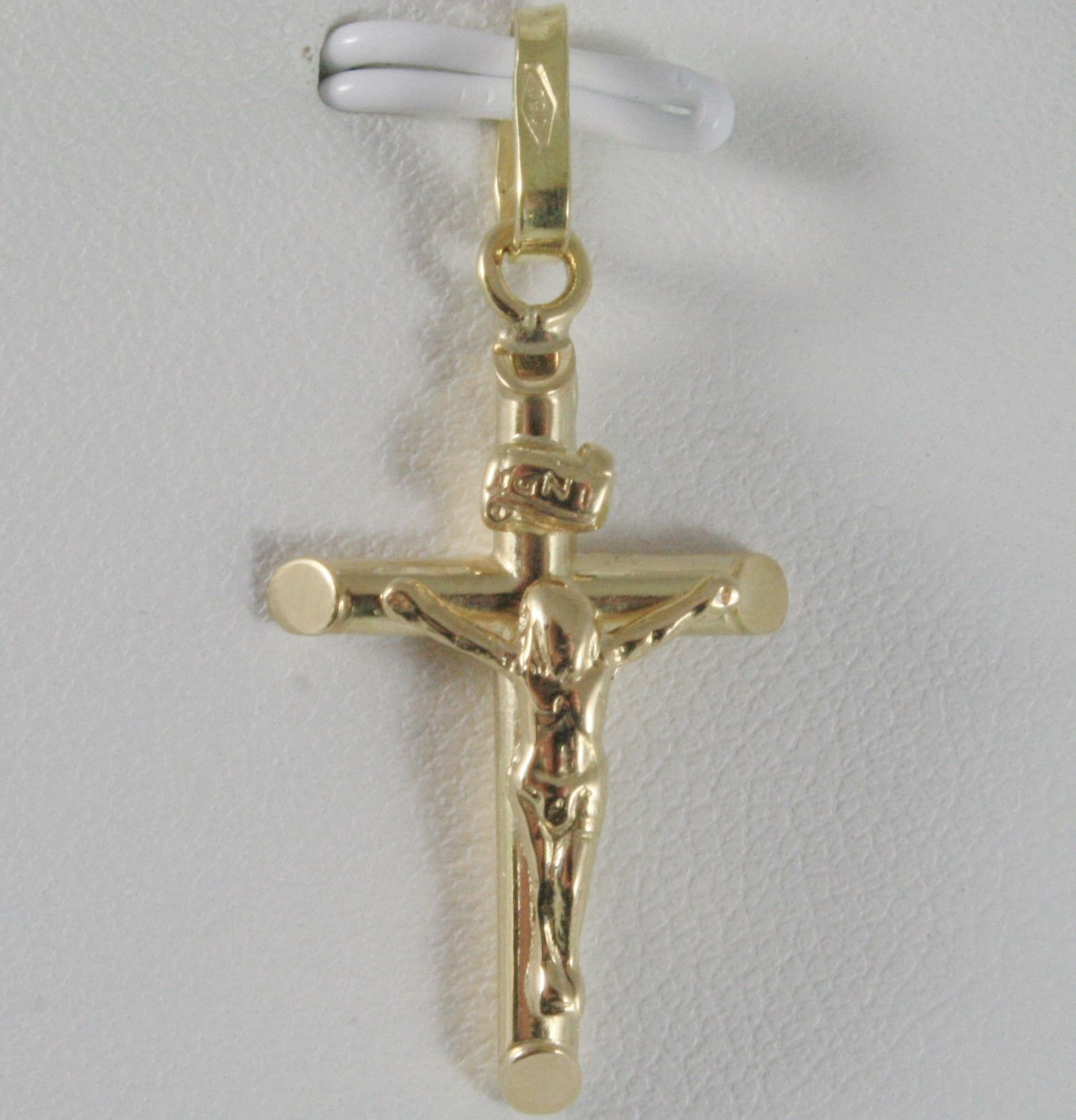 18K YELLOW GOLD CROSS WITH JESUS, ROUNDED TUBE, SHINY 1.22 INCHES, MADE IN ITALY