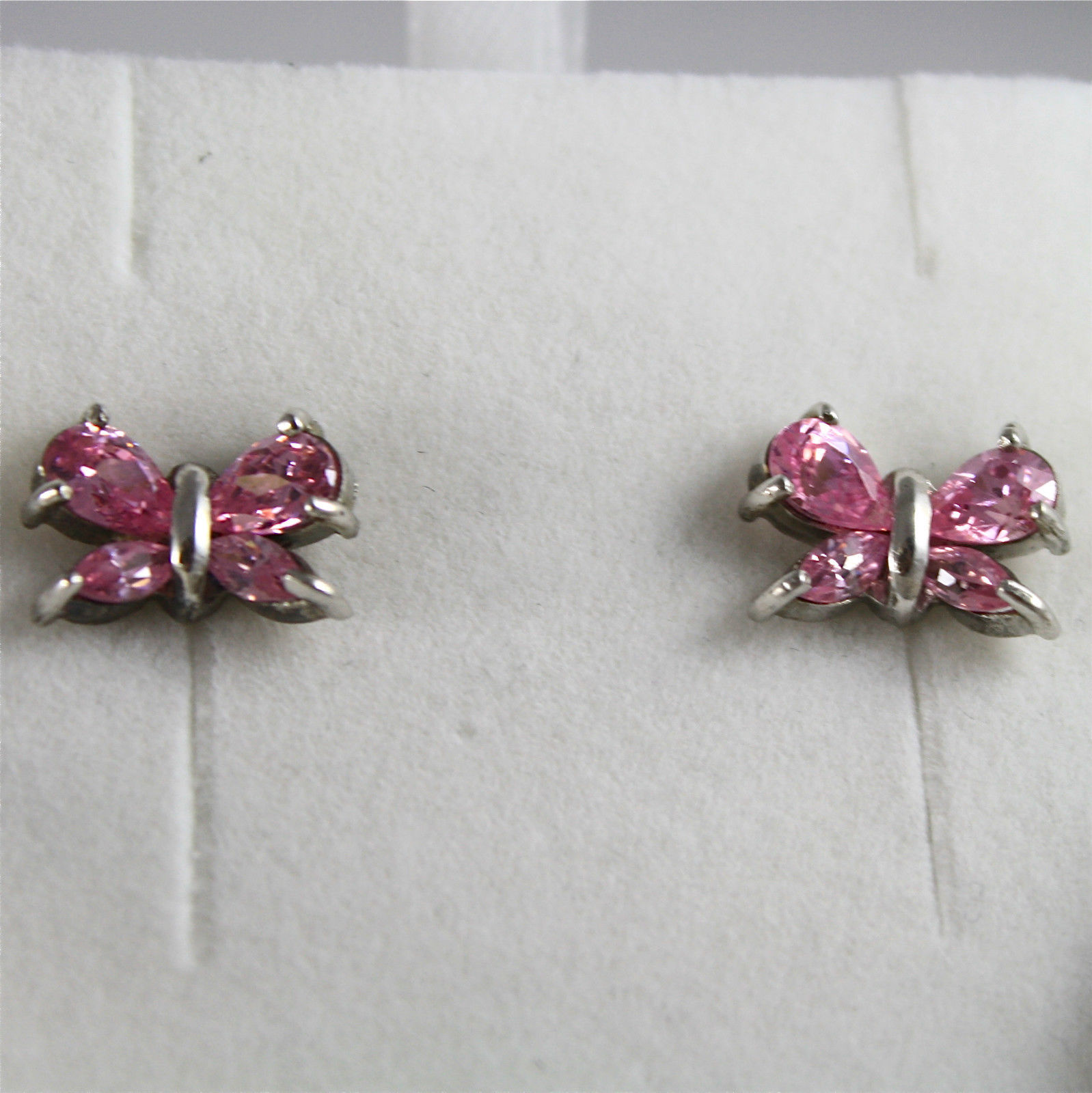 .925 RHODIUM SILVER EARRINGS, ROSE CRISTAL BUTTERFLYES, VINTAGE STYLE