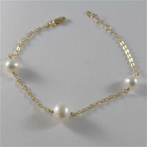 18K YELLOW GOLD BRACELET & ROUND WHITE FRESHWATER PEARLS MADE IN ITALY 250 USD