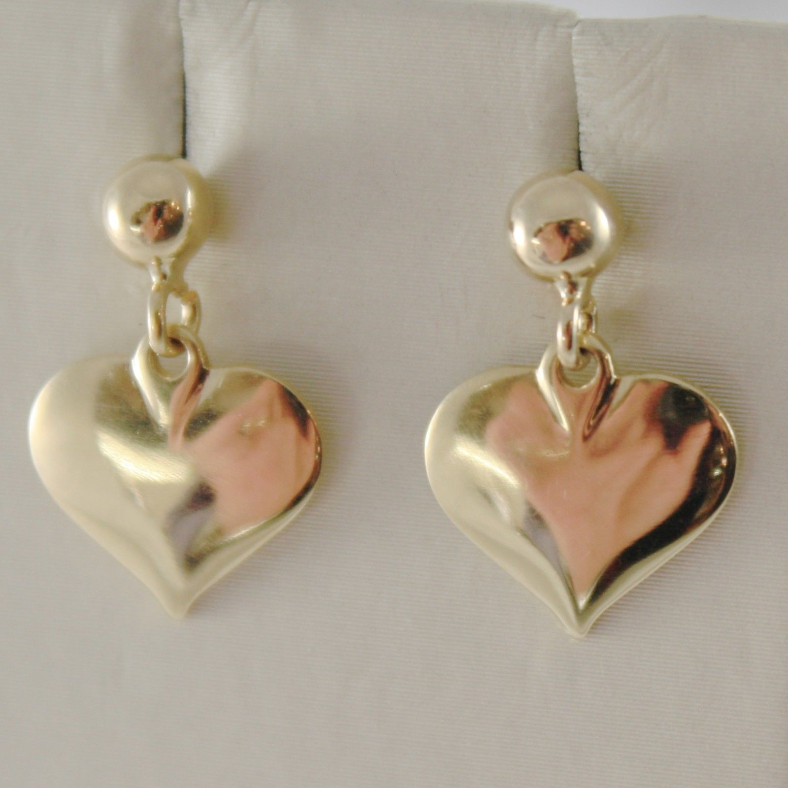 18K YELLOW GOLD HEART HEARTS PENDANT EARRINGS WITH BALLS, SPHERE,  MADE IN ITALY