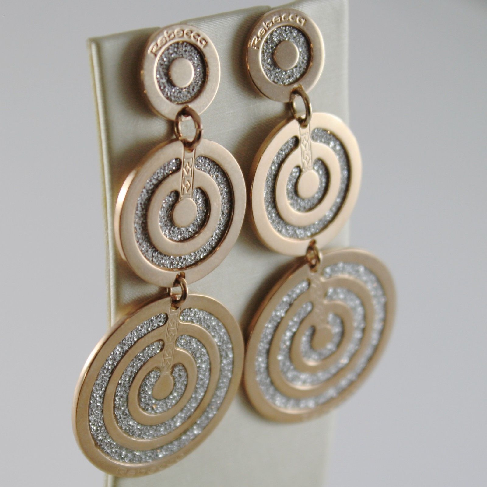 ROSE GOLD PLATED BRONZE REBECCA EARRINGS CIRCLE DISC INFINITY GLAM MADE IN ITALY