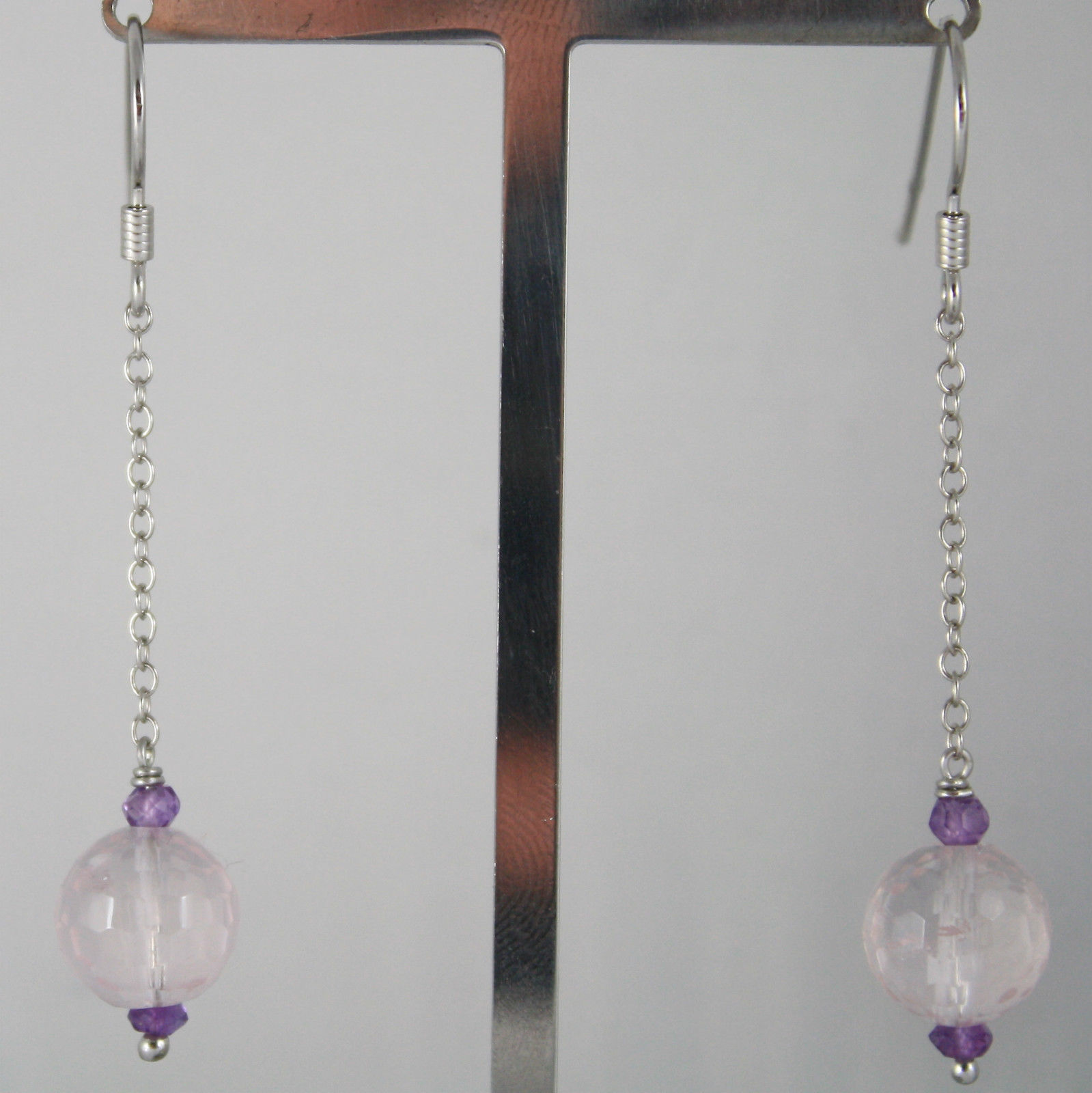 925 SILVER RHODIUM PENDANT EARRINGS, ROSE QUARTZ, AMETHYST