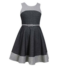 Bonnie Jean Tween Big Girls 7-16 Grey Quilted Chambray Fit Flare Belted Dress