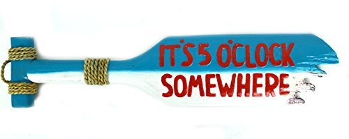 Hand Carved Tiki Bar It's 5 O'Clock Somewhere Wooden Paddle Oar Wall Decor - $14.85