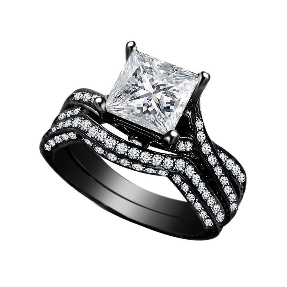 Primary image for 14k Black GP 925 Silver 2.40 Ct Princess Cut White CZ Wedding Bridal Ring Set