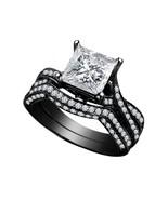 14k Black GP 925 Silver 2.40 Ct Princess Cut White CZ Wedding Bridal Ring Set - $64.99