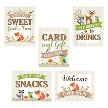 Lillian Rose 5 Piece Woodland Baby Shower Decor Signs - $12.51