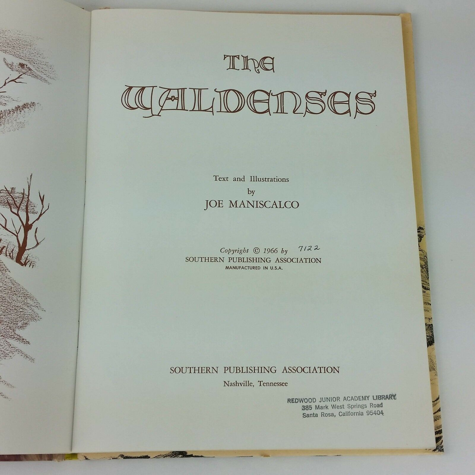 The Waldenses 1966 Childrens Vintage Book Joe Maniscalco USA Made Hardcover