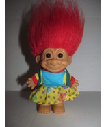 "Russ Troll Doll Red Hair School Girl Dress Backpack 4"" Tall Sticker Book Bag - $13.45"