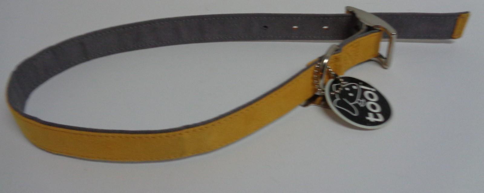 "Large Breed 26"" Leather Dog Collar Yellow NWT"