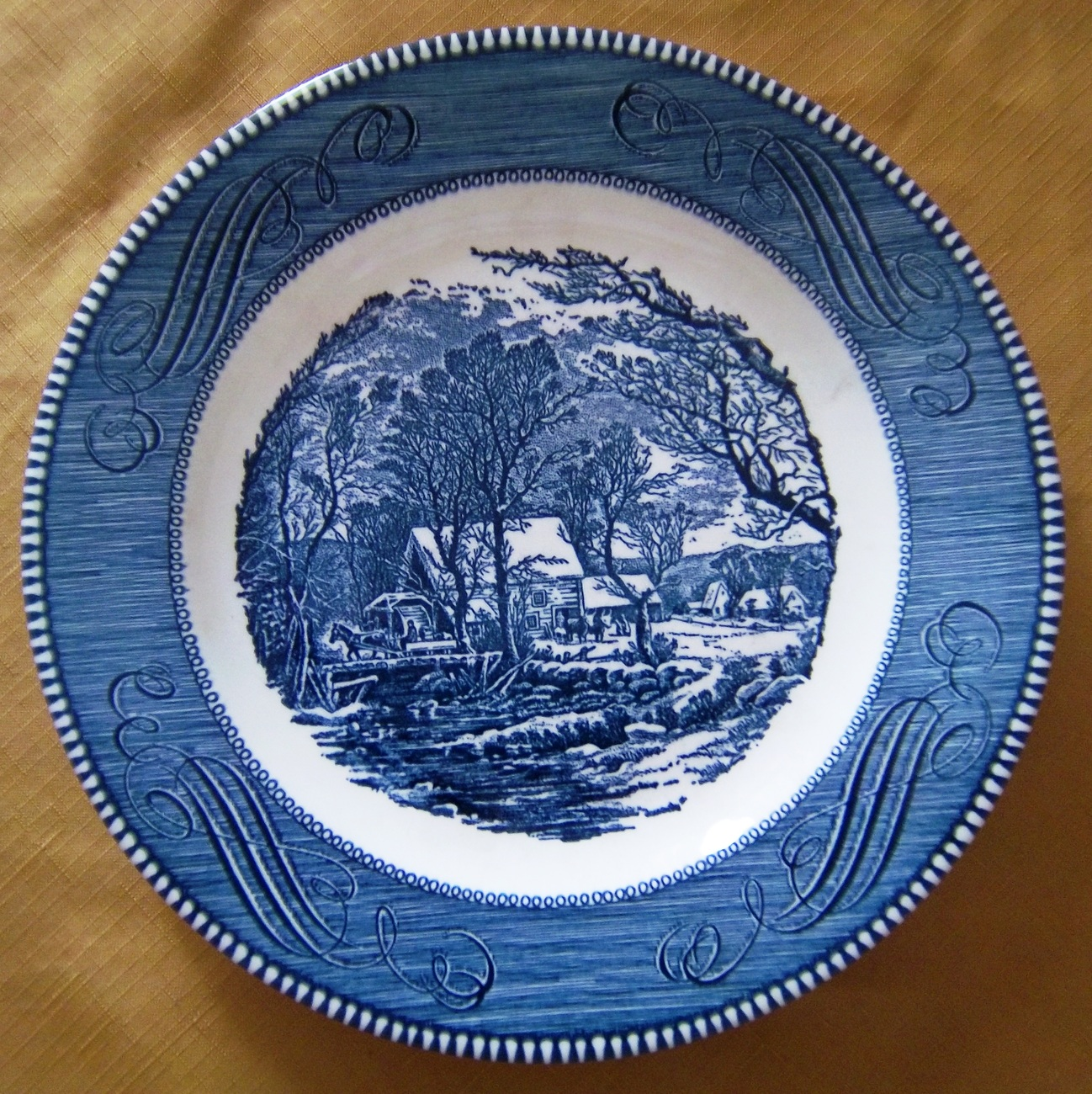 "Vintage Currier and Ives 10"" Diameter Plate,The Old Grist Mill, Royal China"
