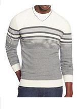 Alfani Men's V-neck Antique White Gray Combo Striped Pullover Sweater New XXL - $24.99