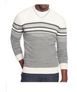 Alfani Men's V-neck Antique White Gray Combo Striped Pullover Sweater Ne... - $24.99