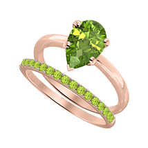 Pear Cut Peridot 14k Rose Gold Over 925 Silver Engagement Bridal Ring - $81.59