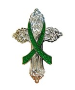 Kidney Donation Pin Green Cross Awareness Ribbo... - $11.97