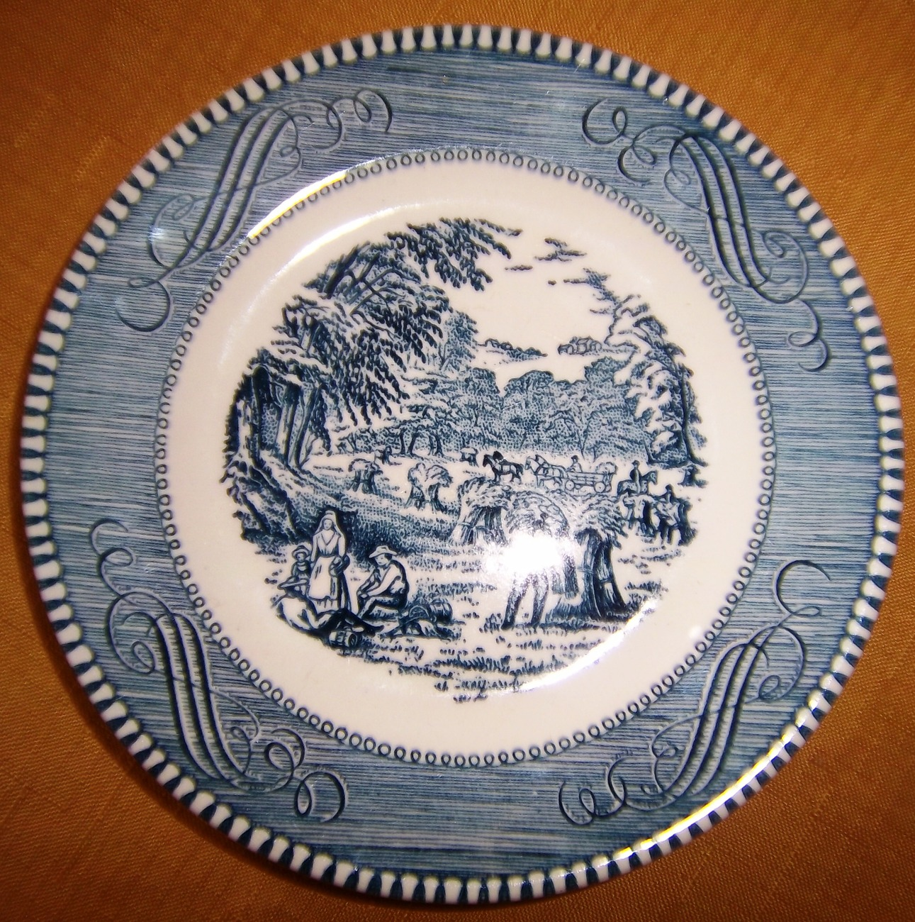 "Vintage Currier and Ives 6"" Diameter Plate, Royal China, Made in U.S.A"