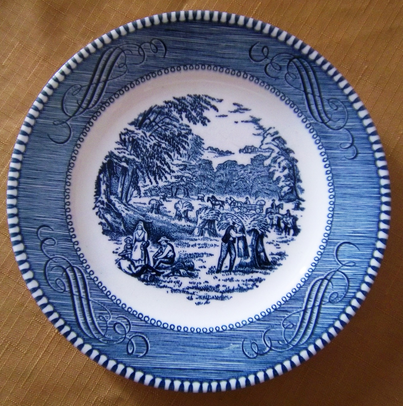 """Vintage Currier and Ives 6"""" Diameter Plate, Royal China, Made in U.S.A"""