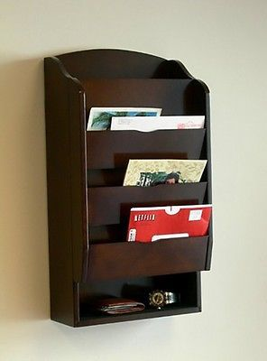 NEW Mail Organizer Holder Letter Key Wall Rack Mount Storage Wood Bill Office
