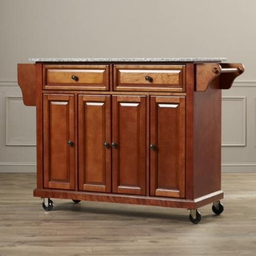 Kitchen Island Granite Top Rack Rolling Wheels Indoor Cart