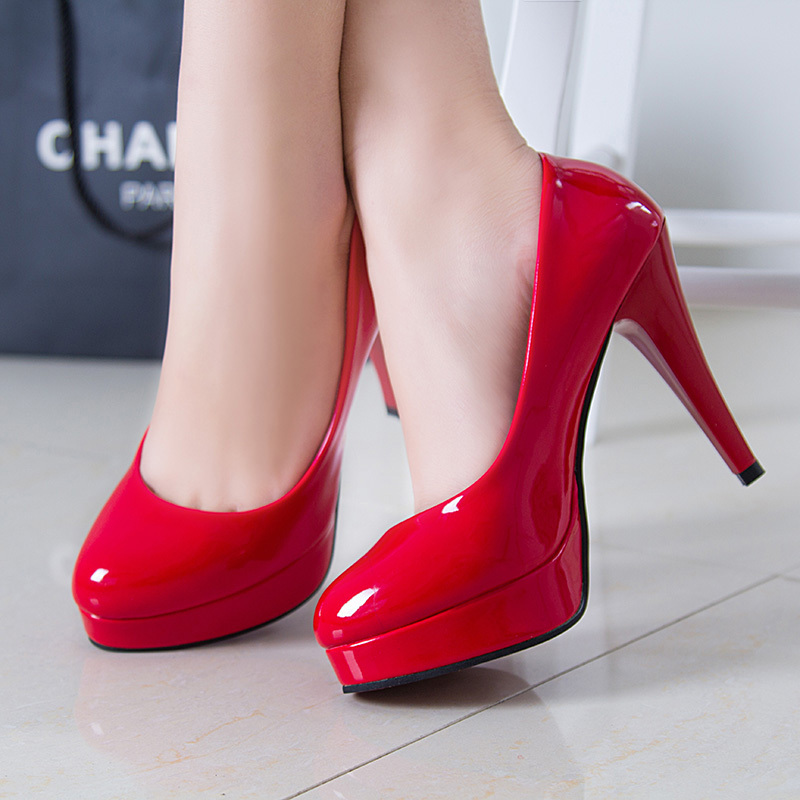 Primary image for pp088 European style candy color pumps w slim high heels,size 34-43,red