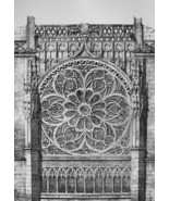 FRANCE Rouen Rosette Window at St. Ouen Cathedral - SUPERB 1843 Antique ... - $18.00