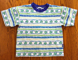 BOY'S SZ 6 GREEN & BLUE STRIPED OSHKOSH B'GOSH SHORT SLEEVE T-SHIRT EUC - $4.99