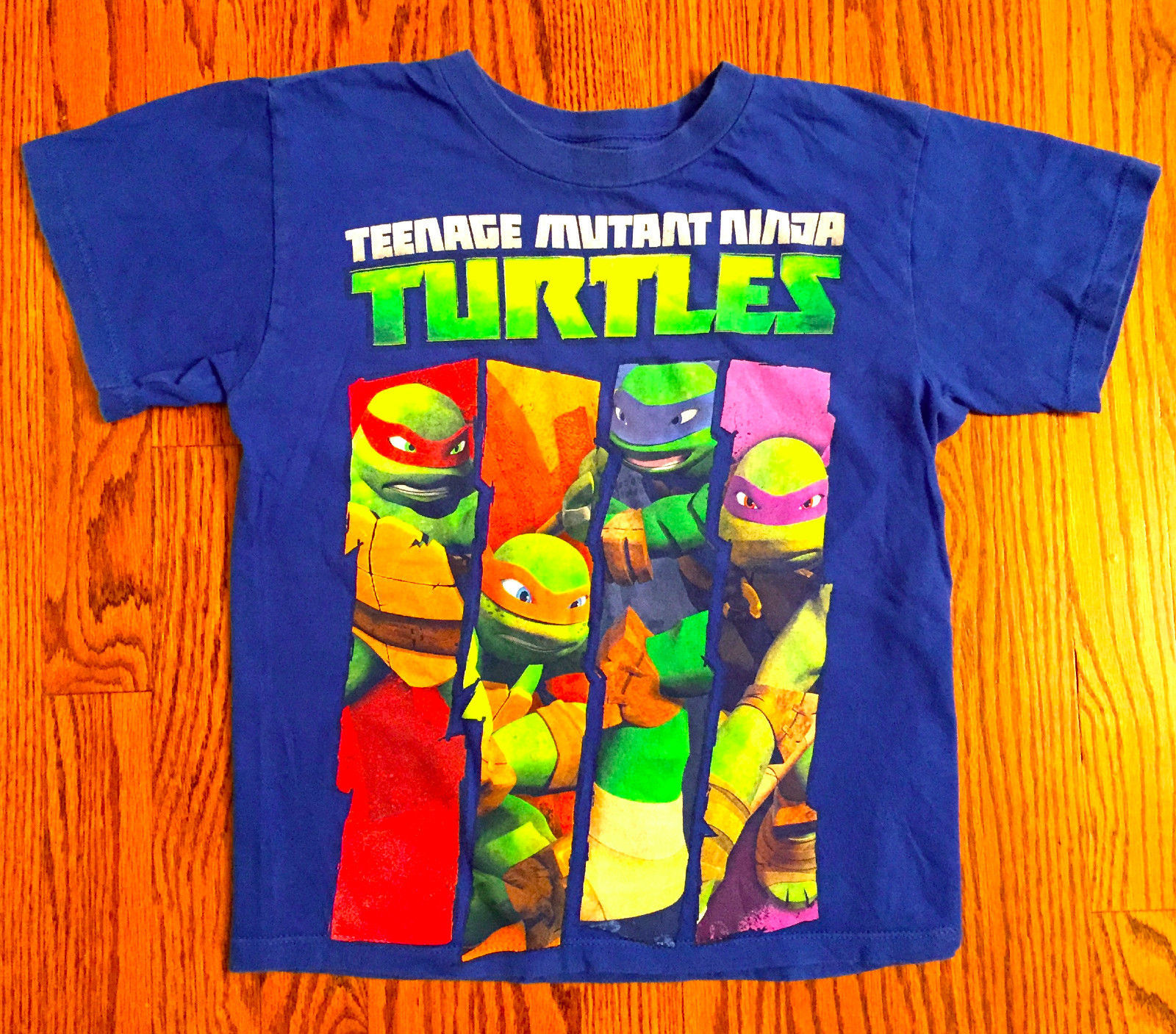 BOYS SZ M BLUE & GREEN TEENAGE MUTANT NINJA TURTLE NICKELODEON T-SHIRT
