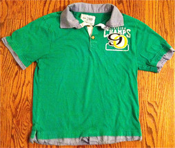 "BOYS PLACE GREEN COLLARED SHIRT 3 BUTTONS SIZE M 7-8 ""DIVISION CHAMPS 90... - $3.99"