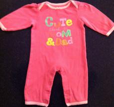 "Circo Girls 6 Mos Pink Sleeper ""Cute Thanks To Mom & Dad"" Euc - $5.93"