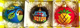 NEW 3 ANGELA MOORE ACORN PINEAPPLE HOUSE HANDPAINTED GLASS CHRISTMAS ORN... - $24.74