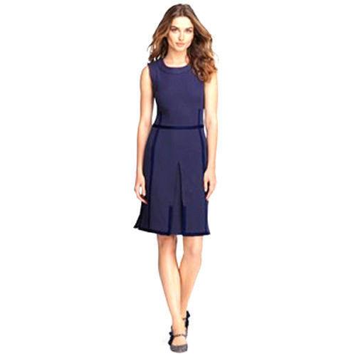 7877e0d97723 S l1600. S l1600. Previous. NEW $325 SZ L TORY BURCH WOMENS ADDIS NORMANDY  NAVY BLUE INVERT PLEAT DRESS